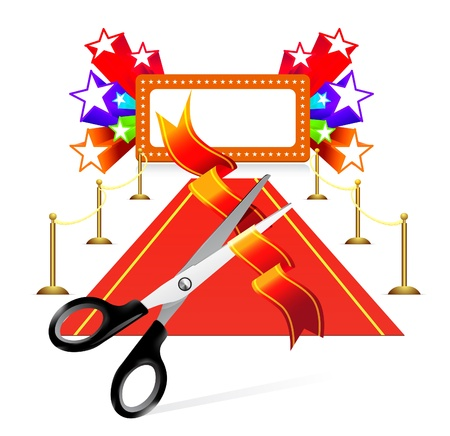 Red carpet with scissors and star background Vector