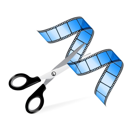 twisted: Scissors and film strip as video editing concept Illustration