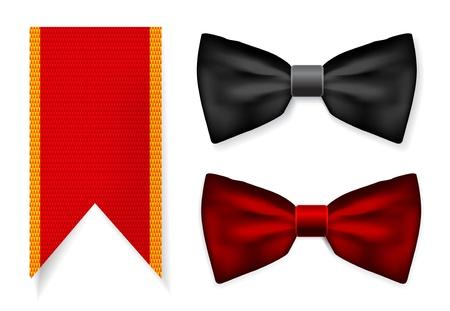 black tie: Pajarita y cinta roja Vectores