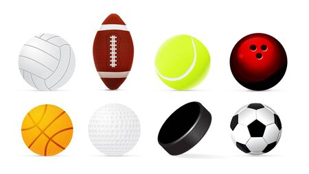 Sport realistic ball set isolated on white background. Vector