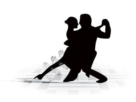 piso negro: Ilustraci�n del baile de pareja