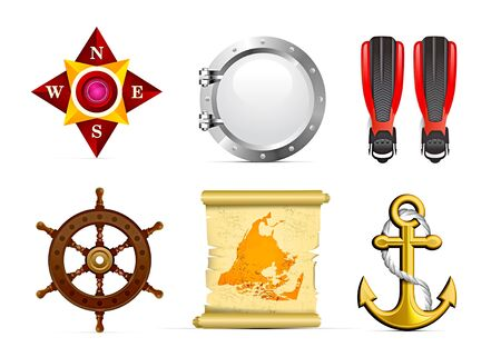 ventana ojo de buey: Conjunto de iconos de vela Vectores