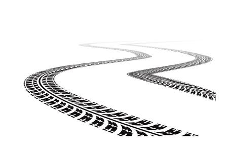 huellas de llantas: los neum�ticos pistas en la vista en perspectiva. Ilustraci�n vectorial aislada sobre fondo blanco