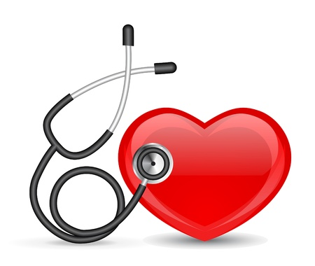 heart disease: Stethoscope and heart Illustration