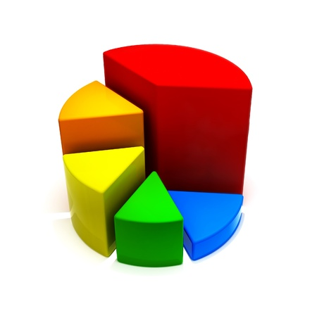 3d Rendered Pie Chart with fillet edge - 3d illustration illustration