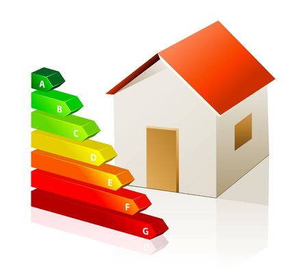 energy classification: house and energy classification Illustration
