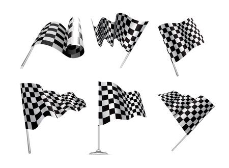 cuadros blanco y negro: Banderas a cuadros establecen ilustraci�n sobre fondo blanco.