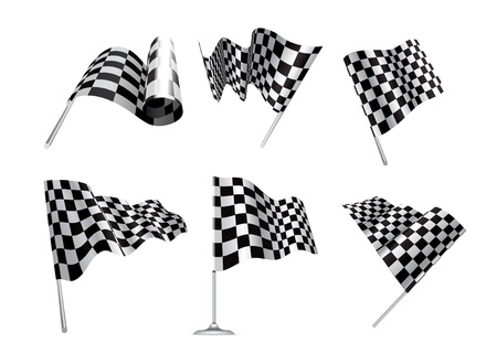 drag: Checkered Flags set illustration on white background.