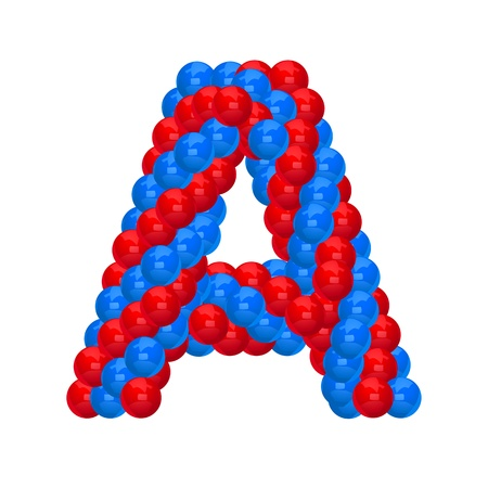 alphabet letter a: letter A from balloon