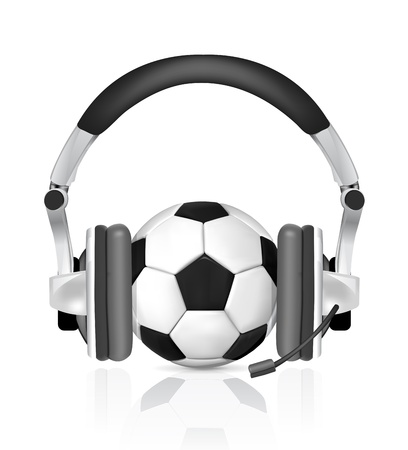 soccer concept, ball in headphones, as commentator on white background