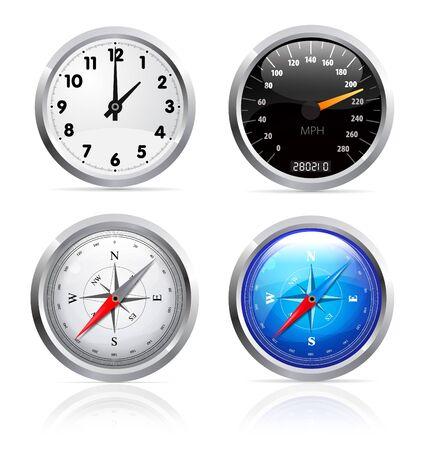 speedmeter: Clock, speedometer and compass set
