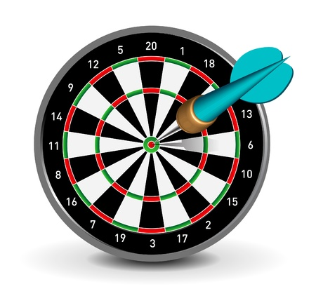 Dartboard with Dart Stock Vector - 9595882