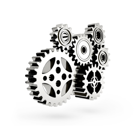industrial drop: The mechanism. Gear 3d.