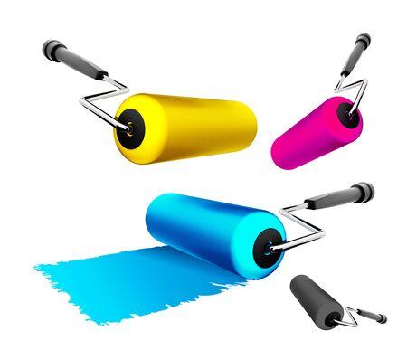 whitewash: Roller brush 3D Stock Photo