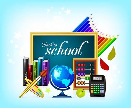 back to school background: School icon Illustration