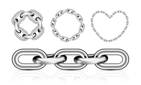rusty chain: Collection of metal chain parts on white background. Vector illustration. Mesh tool used
