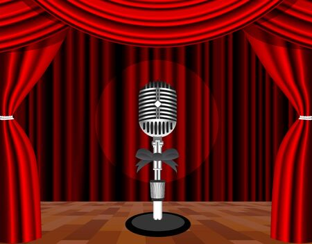 mic: A microphone on a stage with a spotlight on it.