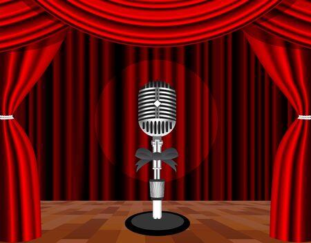 mic: Un microfono su un palco con un riflettore su di esso.