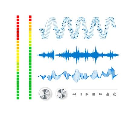 geluid: Notities, knoppen en geluidsgolven.
