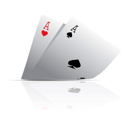 hand holding playing card: Pocket Aces