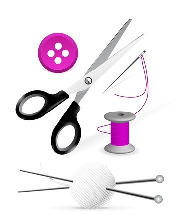 Items for knitting and sewing Stock Vector - 9929599