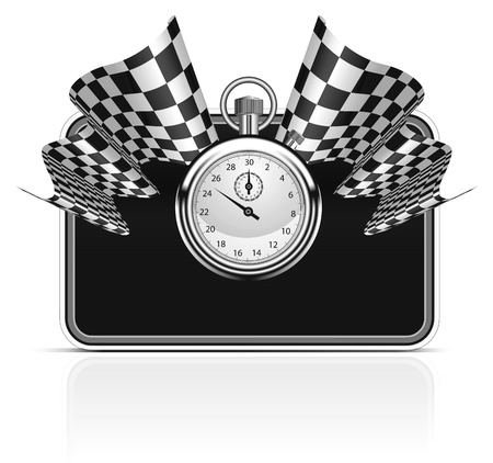 Checkered flag with a stopwatch background Stock Vector - 9929603