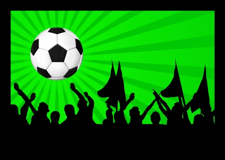 Football fans crowd and the ball Vector