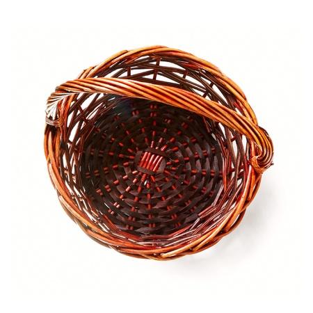 hand baskets: Handmade rattan basket on white background