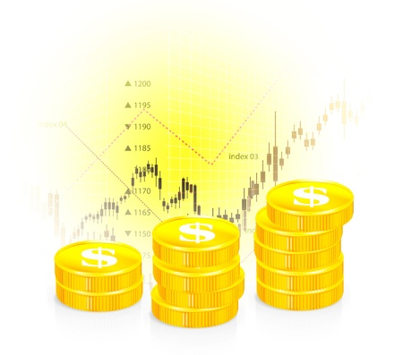 future earnings: Vector illustration of business graph with coins Stock Photo