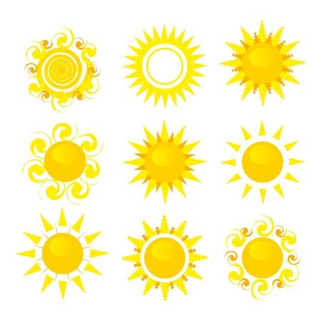 rooster at dawn: set di illustrazione vettoriale sole isolato su sfondo bianco Vettoriali