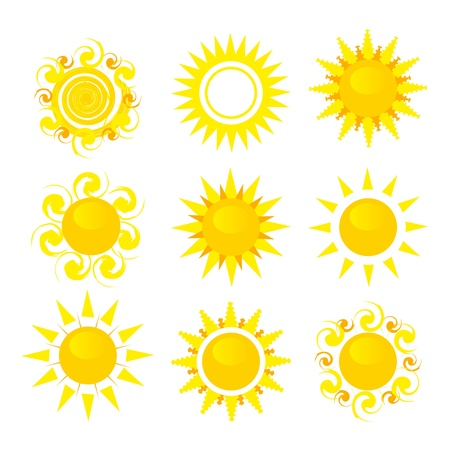 sun: set of sun vector illustration isolated on white background