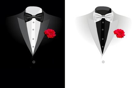 black tie: traje de negocios negro de vectores