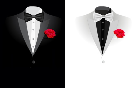 red tie: vector black business suit