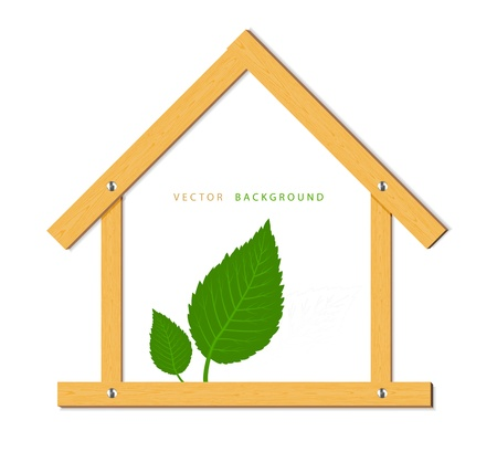 Wooden house and green leaves Stock Vector - 10303994