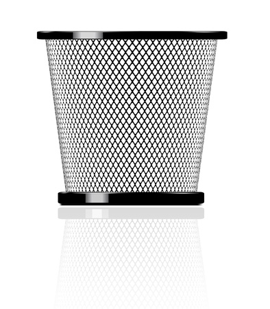 garbage bin: Realistic glossy trash icon illustration
