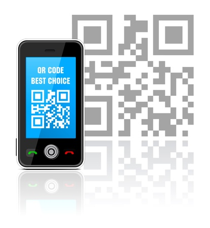 quick response: Cell phone with QR code