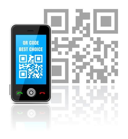 bar code reader: Celular con c�digo QR
