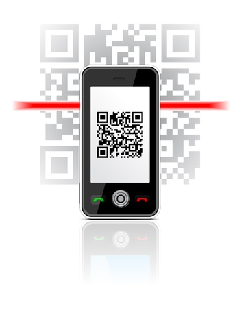 Phone scaned QR code Vector