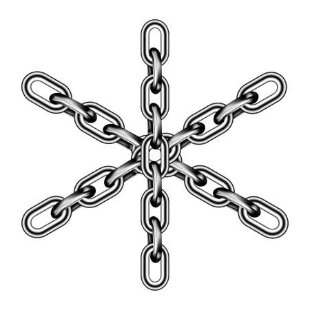 la union hace la fuerza: Cadena de hierro aisladas sobre fondo blanco