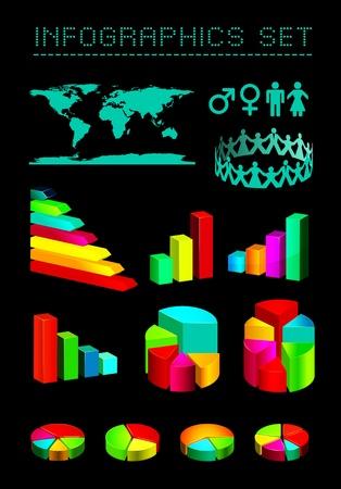 demografia: conjunto de gr�ficos brillantes y diagramas