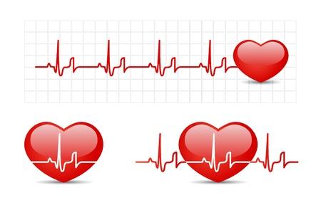 hjärtslag: Hjärta kardiogram med hjärta Illustration