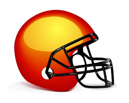 pigskin: Football Helmet on white Illustration