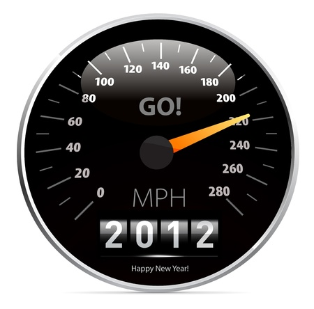 2012 year Calendar speedometer car Vector