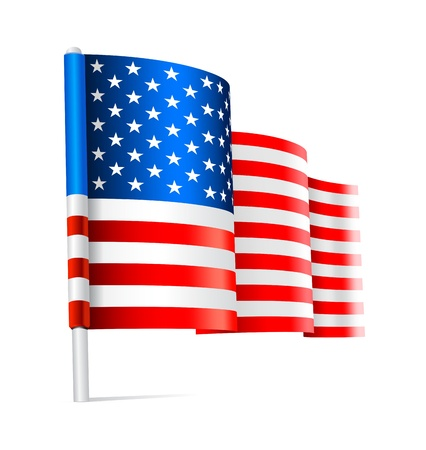 American USA flag waving on white background Illustration