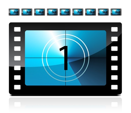 Film countdown from 1 to 9 Vector