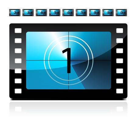 Película cuenta atrás de 1 a 9 Ilustración de vector