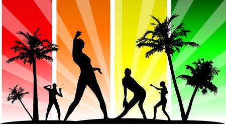 happiness people silhouette on the sunset: Vector editable dancing silhouette group