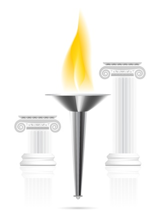 light columns: Olympic torch with flame
