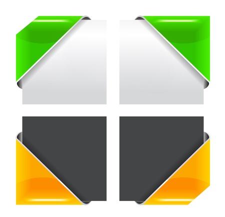 nastro angolo: Vector set di nastro colorato angolo