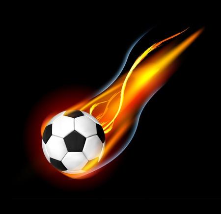 palla di fuoco: Pallone da calcio in fiamme Vettoriali